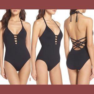 LA BLANCA - Caged Strap One-Piece Halter Swimsuit